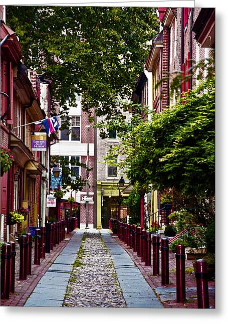 Philadelphia Alley Greeting Cards - Elfreths Alley in Old City Greeting Card by Bill Cannon