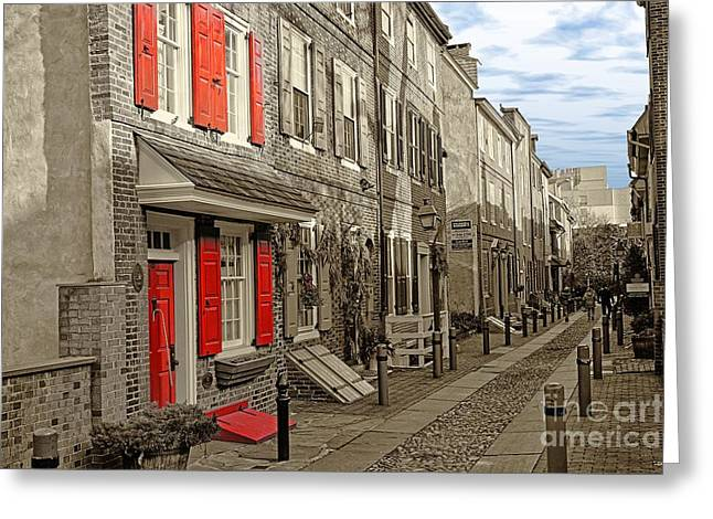 Philadelphia Alley Greeting Cards - Elfreths Alley Philadelphia 11 Greeting Card by Jack Paolini