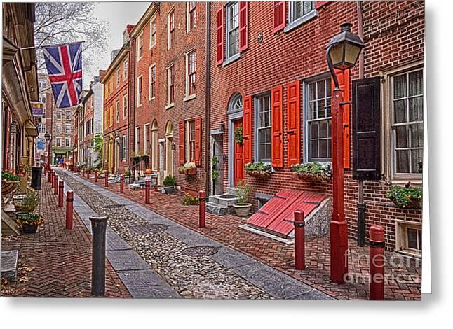 Philadelphia Alley Greeting Cards - Elfreths Alley Philadelphia  7 Greeting Card by Jack Paolini