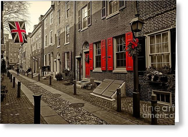 Philadelphia Alley Greeting Cards - Elfreths Alley Philadelphia 9 Greeting Card by Jack Paolini