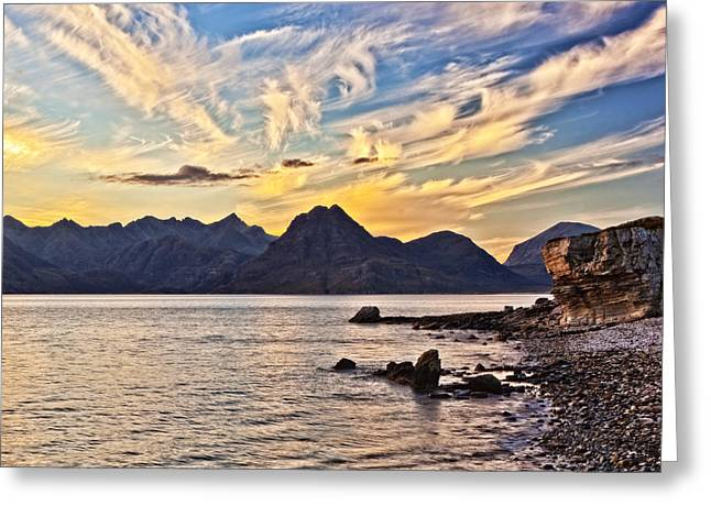 Up And Coming Greeting Cards - Elgol Beach at Sunset Greeting Card by Marcia Colelli