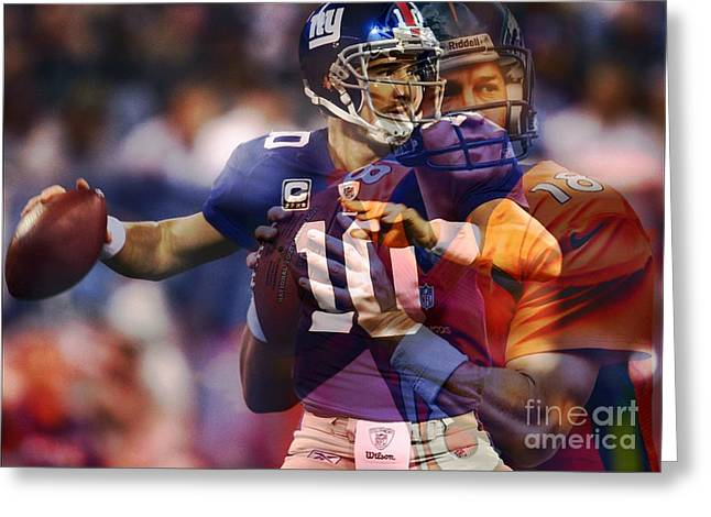 Broncos Mixed Media Greeting Cards - Eli and peyton Greeting Card by M and L Creations