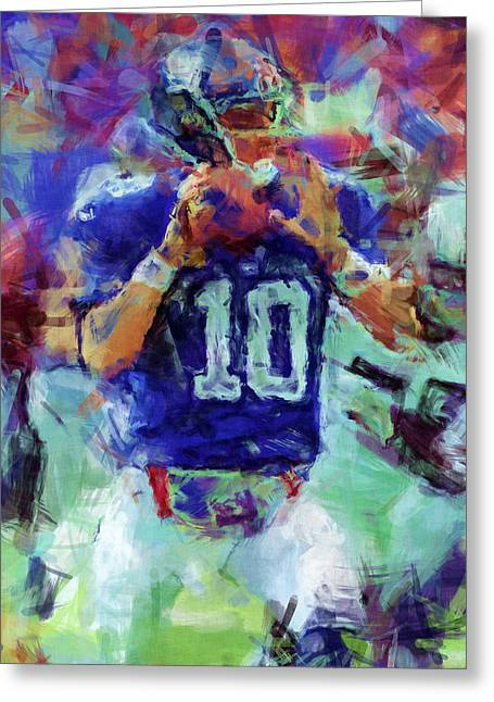 Pro Football Digital Greeting Cards - Eli Manning Abstract 1 Greeting Card by David G Paul
