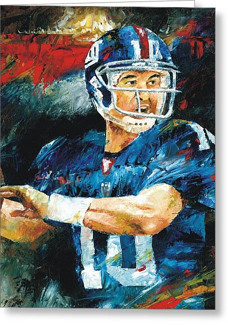 Eli Manning Greeting Card by Christiaan Bekker