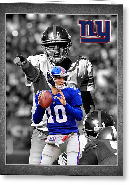 Goals Greeting Cards - Eli Manning Giants Greeting Card by Joe Hamilton