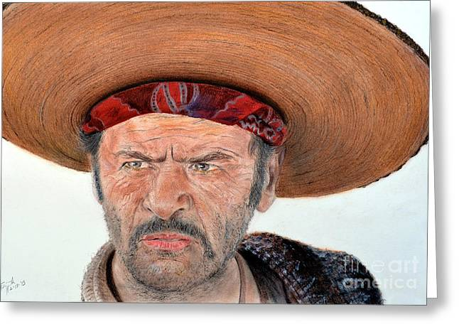 Spaghetti Greeting Cards - Eli Wallach as Tuco in The Good the Bad and the Ugly Greeting Card by Jim Fitzpatrick