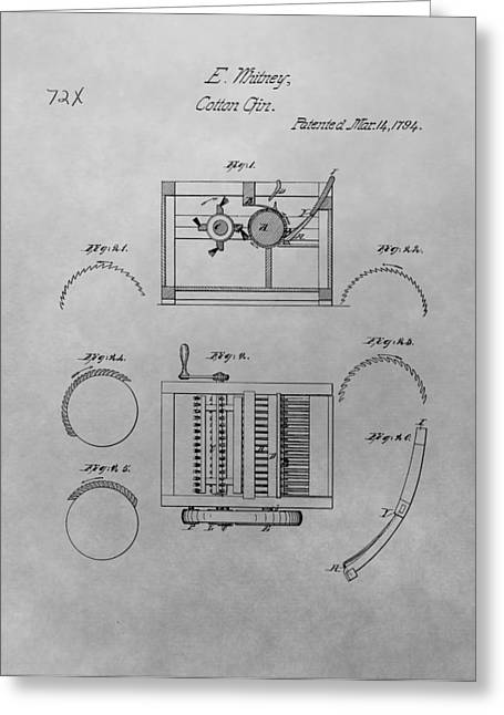 Slavery Greeting Cards - Eli Whitney Cotton Gin Patent Drawing Greeting Card by Dan Sproul