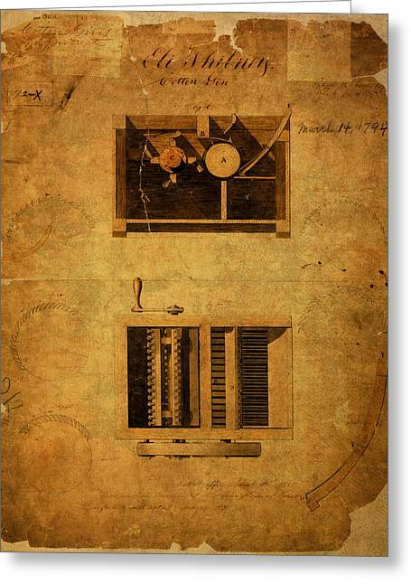 Eli Whitney Cotton Gin Patent Vintage On Worn Canvas Greeting Card by Design Turnpike