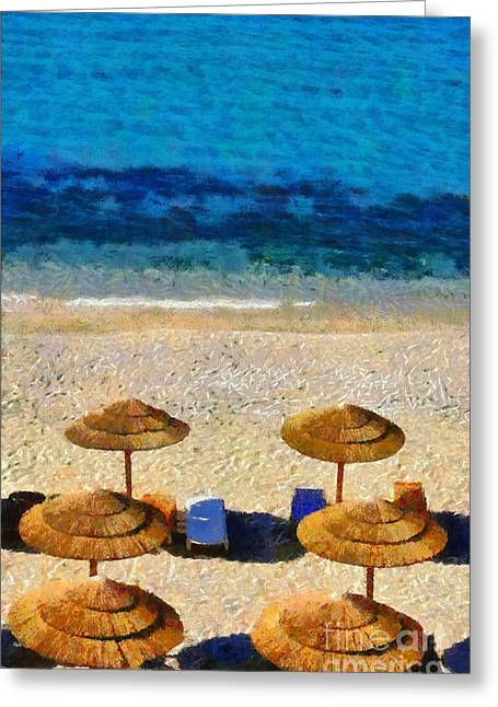 Trip Greeting Cards - Elia beach in Mykonos island Greeting Card by George Atsametakis