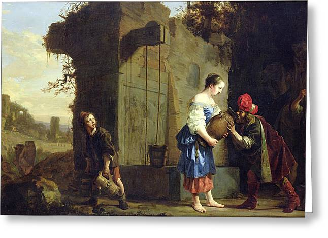 Fetch Greeting Cards - Eliezer And Rebecca At The Well, 1660 Oil On Canvas Greeting Card by Salomon de Bray