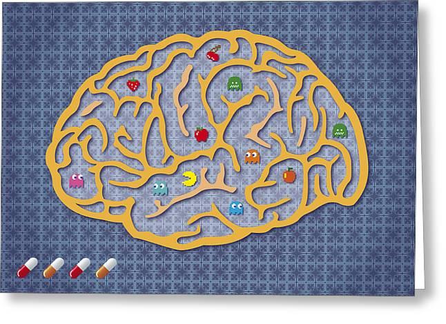 Pacman Digital Art Greeting Cards - Elige tu jugador Greeting Card by Antonio Torrijo