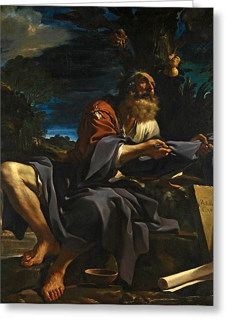 Fed Greeting Cards - Elijah fed by Ravens Greeting Card by Guercino