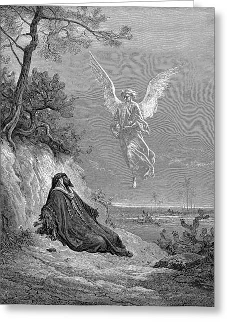 Dore Paintings Greeting Cards - Elijah Nourished by an Angel Greeting Card by Gustave Dore