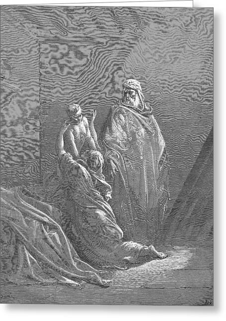 Dore Greeting Cards - Elijah Raiseth the Son of the Widow of Zarephath Greeting Card by Gustave Dore