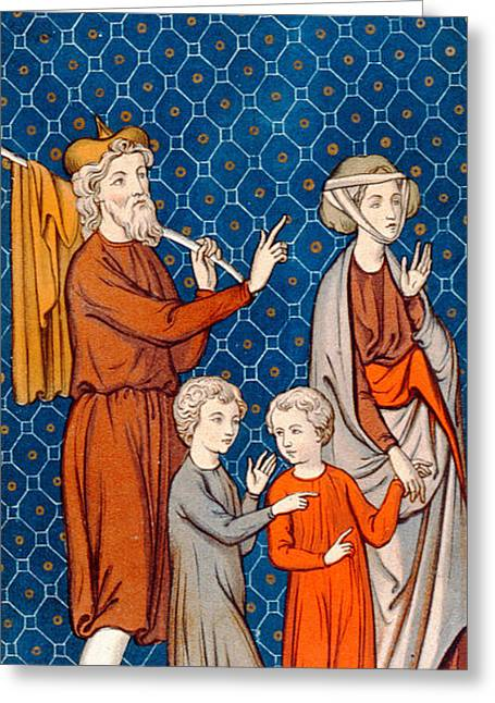 Elimelech And His Wife Naomi With Their Two Sons Greeting Card by French School