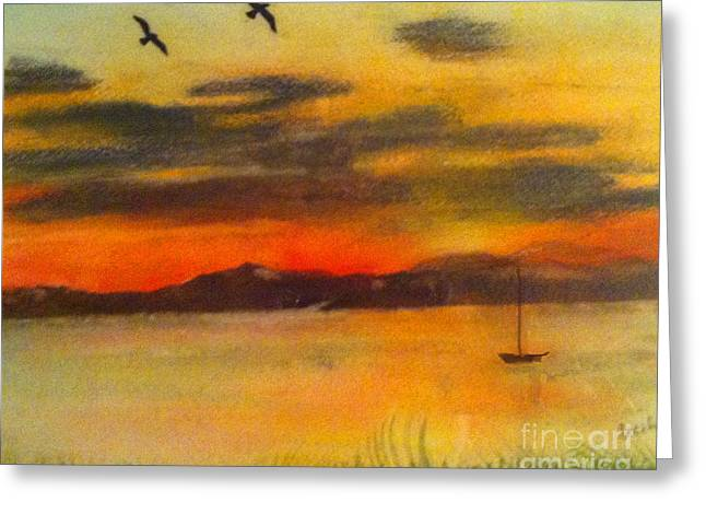 Tranquil Pastels Greeting Cards - Elliott Bay Greeting Card by Cecily Mitchell