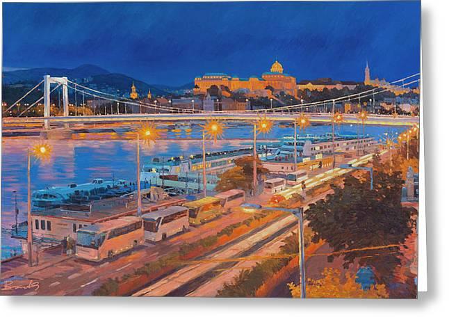 Buda Greeting Cards - Elisabeth Bridge With Lights Greeting Card by Judith Barath