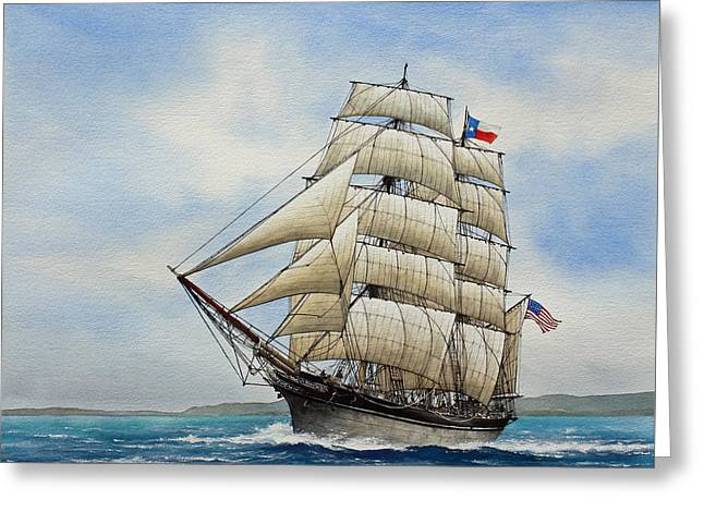 Sailing Ship Framed Prints Greeting Cards - Elissa Greeting Card by James Williamson