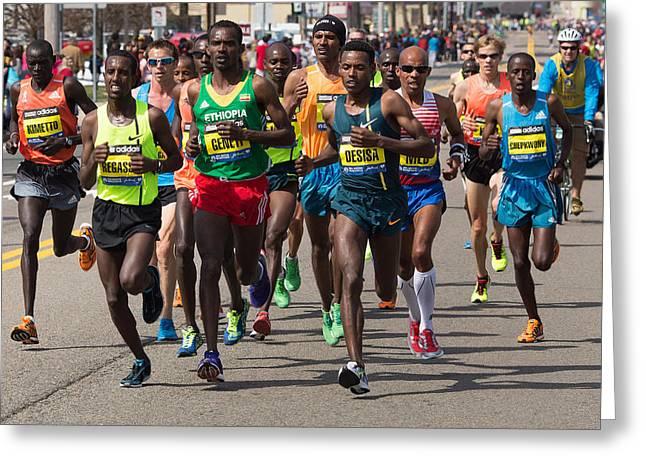 Boston Ma Greeting Cards - Elite Men at the Boston Marathon Greeting Card by John Hoey