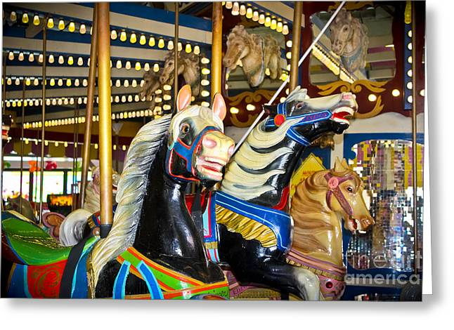 Carousel House Greeting Cards - Elizabeth and Friends- Carousel Ponies Greeting Card by Colleen Kammerer