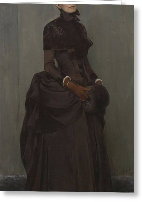 Full-length Portrait Greeting Cards - Elizabeth Boott Duveneck Oil On Canvas Greeting Card by Frank Duveneck