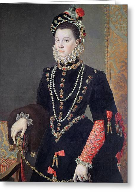 Jewellery Greeting Cards - Elizabeth de Valois Greeting Card by Alonso Sanchez Coello