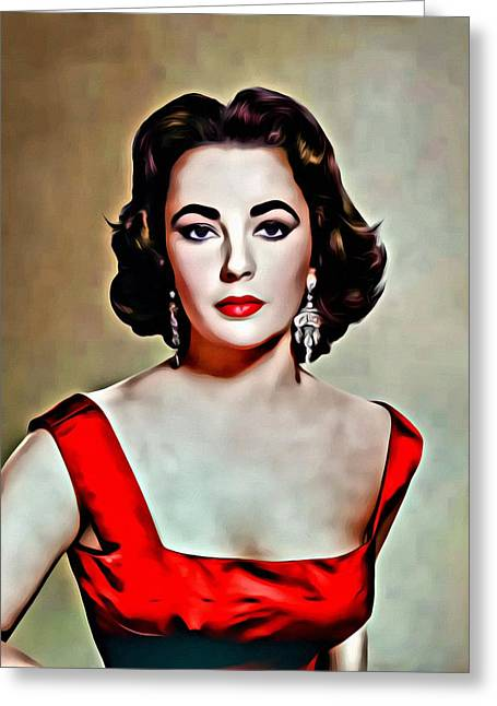 Liz Taylor Greeting Cards - Elizabeth In Red Greeting Card by Florian Rodarte