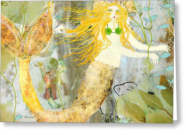 Blonde Mixed Media Greeting Cards - Elizabeth Mermaid Greeting Card by Sarah Kiser