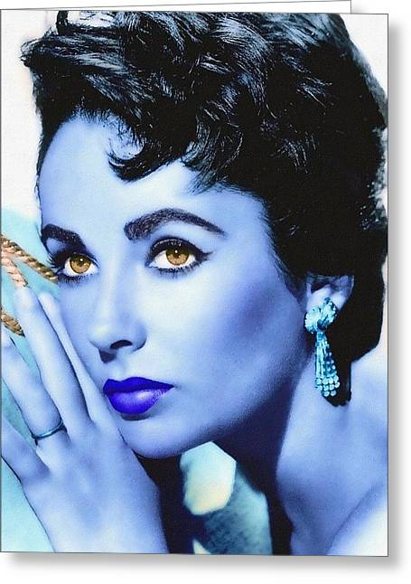 First Star Mixed Media Greeting Cards - Elizabeth Taylor Greeting Card by Art Cinema Gallery