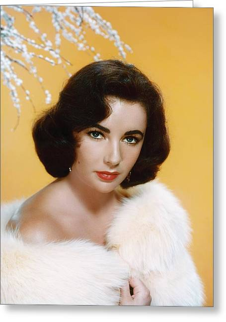 Burton Greeting Cards - Elizabeth Taylor Glamour Portrait Greeting Card by Nomad Art And  Design