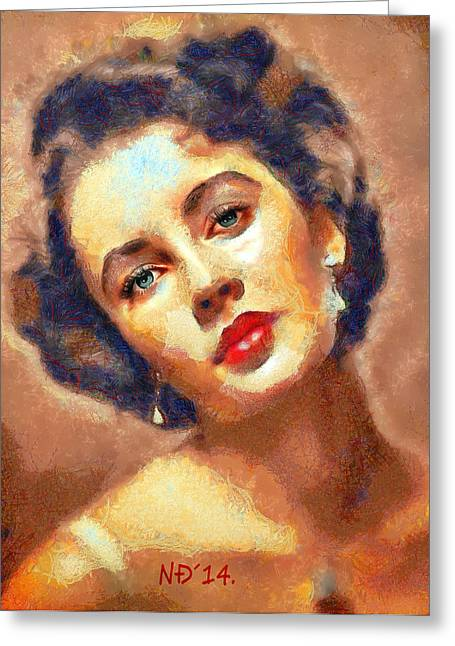 Lucent Dreaming Greeting Cards - Elizabeth Taylor I Greeting Card by Nikola Durdevic