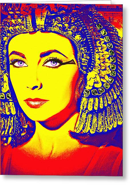 Pharaoh Mixed Media Greeting Cards - Elizabeth Taylor in Cleopatra Greeting Card by Art Cinema Gallery