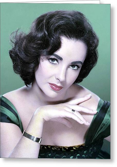 Burton Greeting Cards - Elizabeth Taylor in Green Greeting Card by Nomad Art And  Design