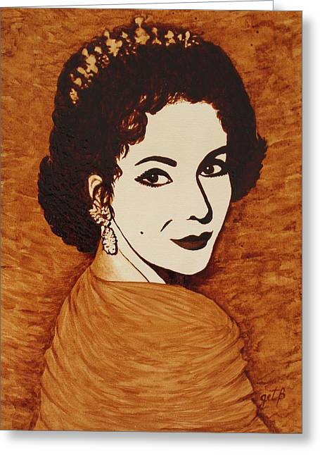 Liz Taylor Greeting Cards - Elizabeth Taylor original coffee painting on paper Greeting Card by Georgeta  Blanaru