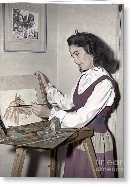 1944 Movies Greeting Cards - Elizabeth Taylor Painting Man O War Greeting Card by Martin Konopacki
