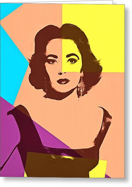 Liz Taylor Greeting Cards - Elizabeth Taylor Pop Art Greeting Card by Dan Sproul