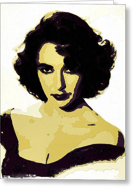 Liz Taylor Greeting Cards - Elizabeth Taylor Poster Art Greeting Card by Florian Rodarte