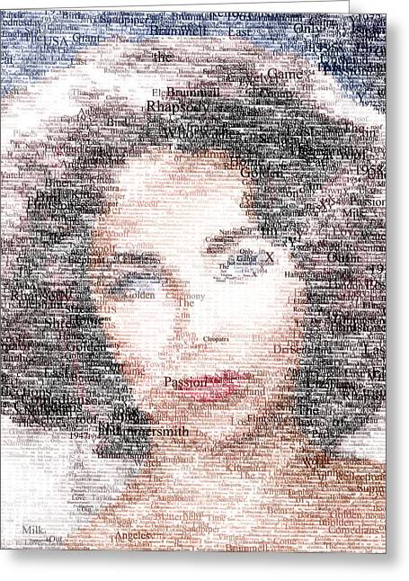 Tin Roof Greeting Cards - Elizabeth Taylor Typo Greeting Card by Taylan Soyturk