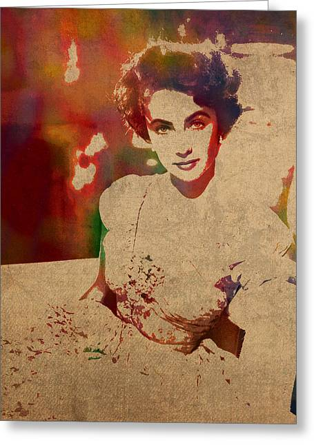 Liz Taylor Greeting Cards - Elizabeth Taylor Watercolor Portrait on Worn Distressed Canvas Greeting Card by Design Turnpike