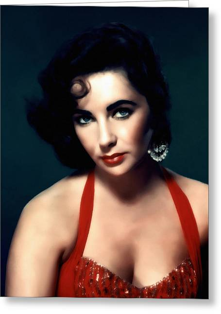 Sensuality Mixed Media Greeting Cards - Elizabeth Taylor  Greeting Card by Georgiana Romanovna