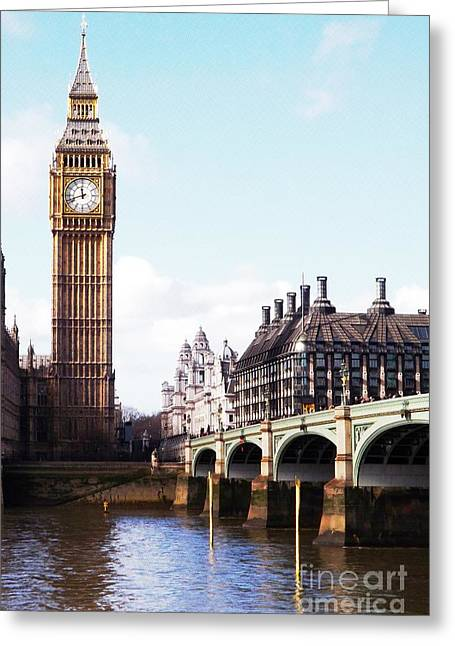 Elizabeth Tower On The Thames Greeting Card by Jessica Panagopoulos