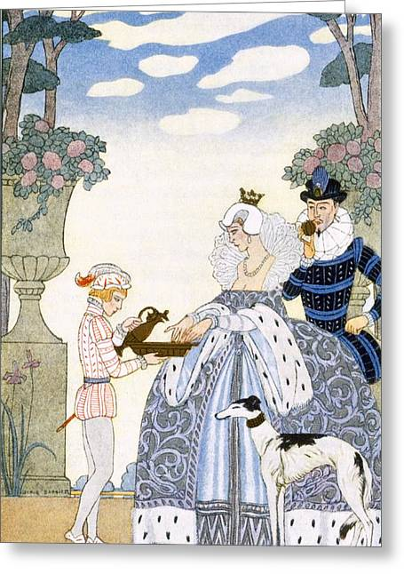 Stencil Art Greeting Cards - Elizabethan England Greeting Card by Georges Barbier