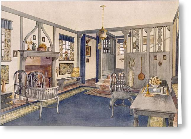 Decorate Greeting Cards - Elizabethan Style Entrance Hall Greeting Card by Richard Goulburn Lovell