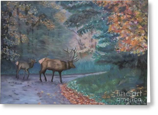 Pa Pastels Greeting Cards - Elk Encounter at Benezette Greeting Card by Renee Couture