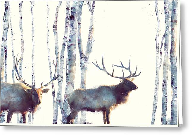 Elk // Follow Greeting Card by Amy Hamilton