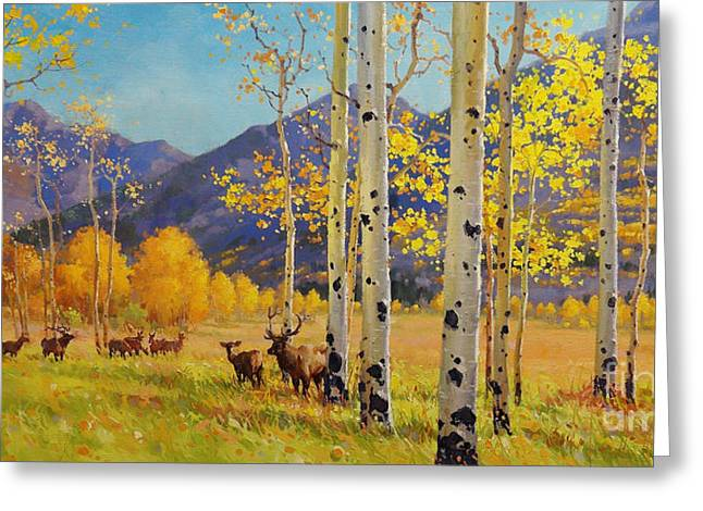 National Paintings Greeting Cards - Elk Herd In Aspen Grove Greeting Card by Gary Kim