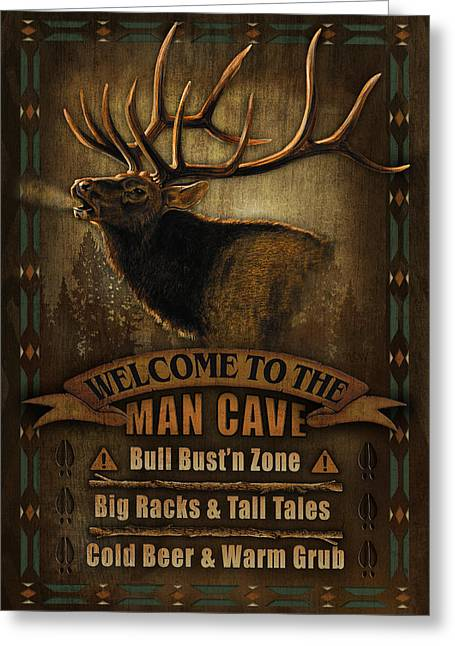 Turkey Greeting Cards - Elk Man Cave Sign Greeting Card by JQ Licensing