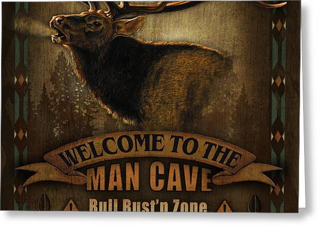 Elk Man Cave Sign Greeting Card by JQ Licensing