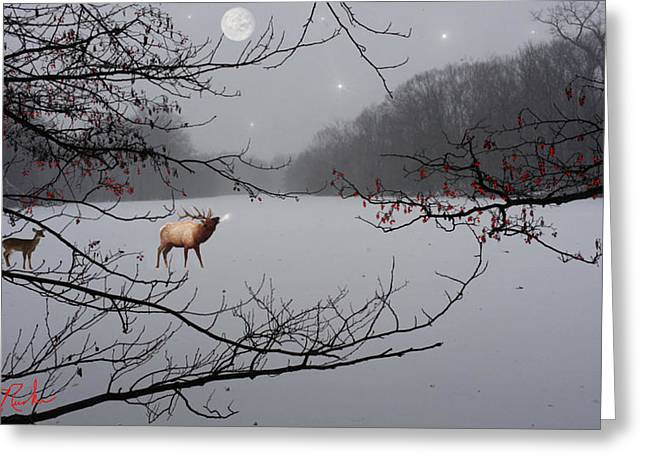 Photos With Red Digital Greeting Cards - Elk of the Great Lakes Greeting Card by Michael Rucker