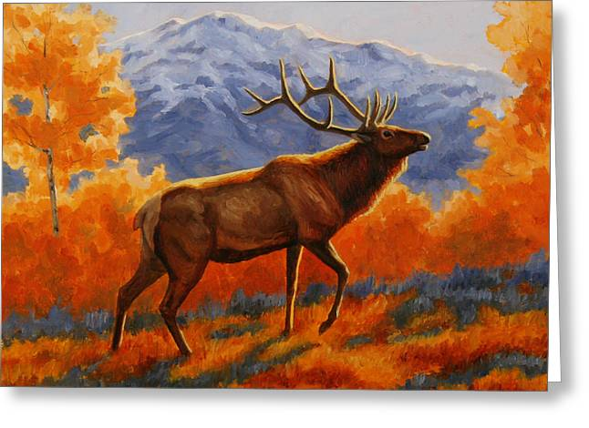 Big Game Greeting Cards - Elk Painting - Autumn Glow Greeting Card by Crista Forest